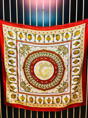 Red & Gold Pattern Silk Scarf