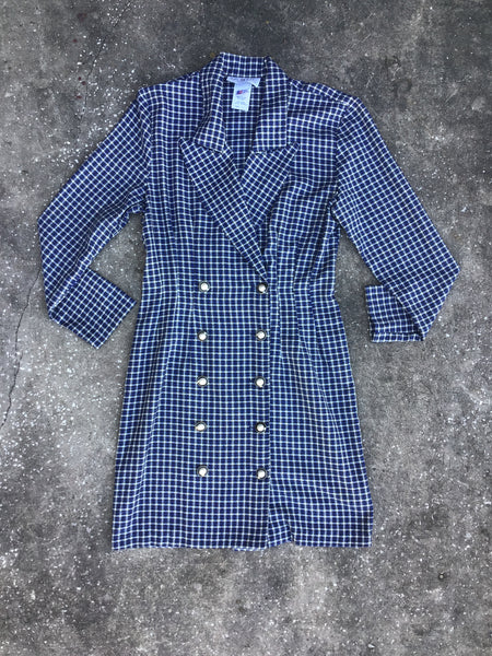 La Belle Blue and White Plaid Blazer Dress