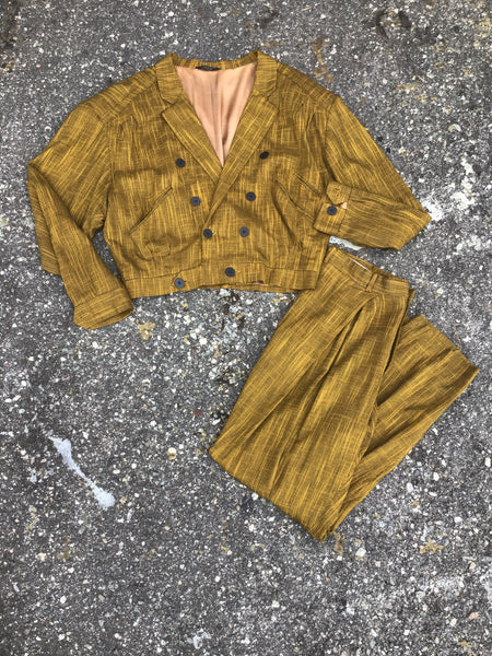 AS IS - Hatchwork Mustard Two Piece Suit