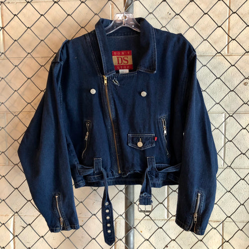 Don't Stop Dark Wash Denim Zip Jacket - Closet Freekz