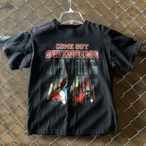 For Sports Black Come Out Swinging Baseball Tee