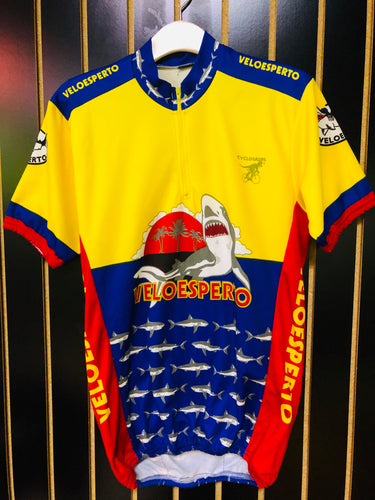 AS IS- Retro Cyclesaurus Yellow Red and Blue Cycling Jersey