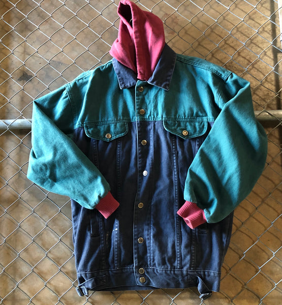 Seruchi Teal and Blue Color Block Denim Jacket