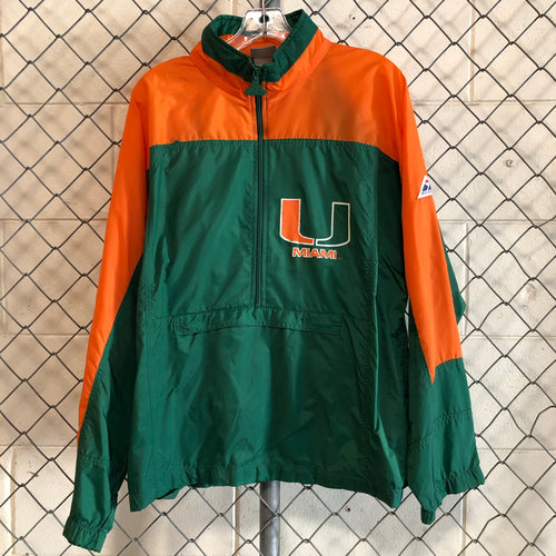 Apex One Orange and Green University of Miami Athletic Windbreaker - Closet Freekz