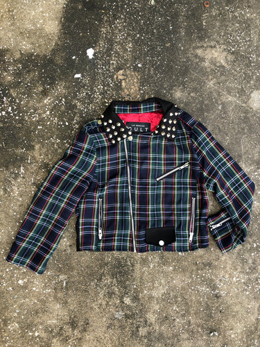 AS IS- Cult Blue and Green Plaid Studded Retro Jacket - Closet Freekz