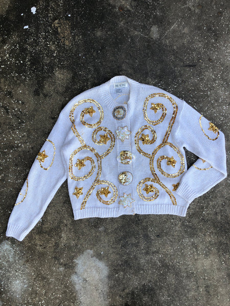 The Icing White and Gold Beaded Sweater