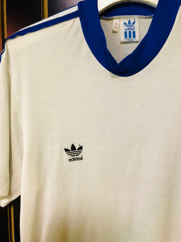 Vintage Adidas White and Blue Stripe Jersey