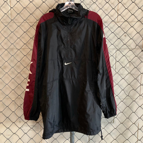 Nike Black and Burgundy Athletic Windbreaker - Closet Freekz