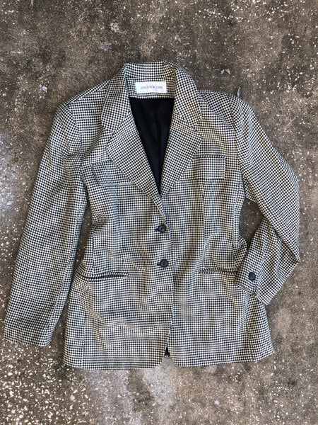 Jones New York Black and White Houndstooth Blazer