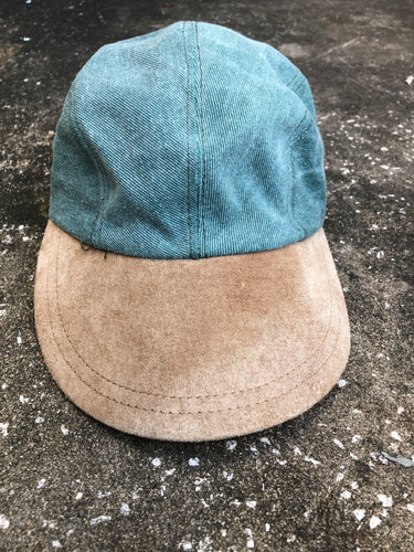 OSFA Green and Brown Suede Baseball Cap - Closet Freekz