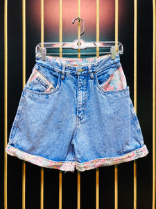 Rio Floral Detail Denim Mom Shorts
