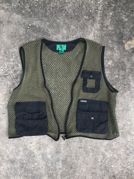 Trutus Green Knit Cargo Vest