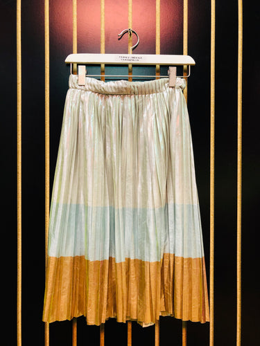 Ontwelfth Silver Aqua & Gold Pleated Skirt