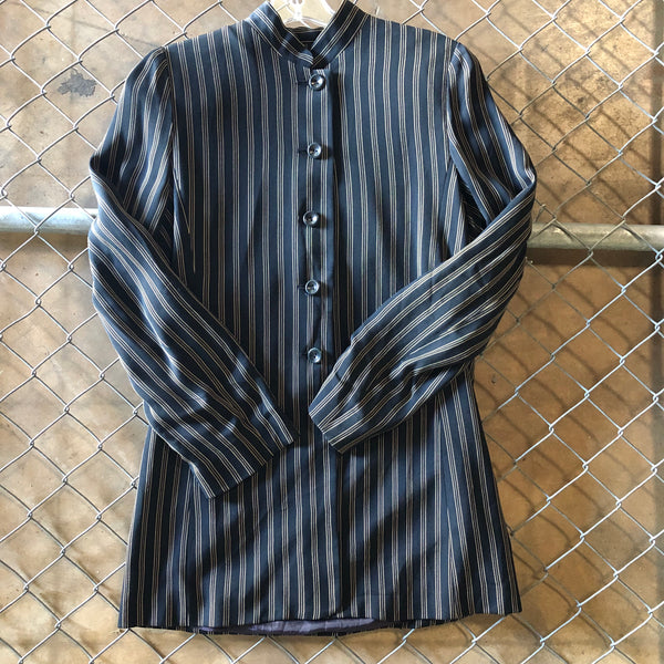 Calise II Black and Tan Stripe Button Up