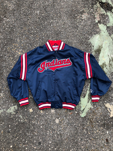 Authentic Navy Cleveland Indians Baseball Bomber Jacket - Closet Freekz