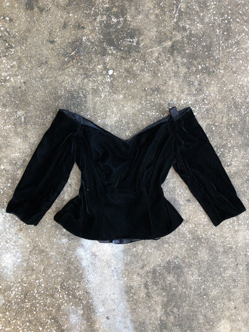 Bill Levkoff Off the Shoulder Velvet Retro Top