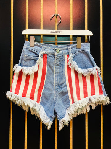 Traffic Red & White Striped Distressed Vintage Denim Shorts
