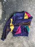 Saxony Purple and Yellow Silk Cardigan