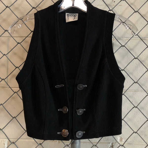 AS IS-Peep Black Button Vest