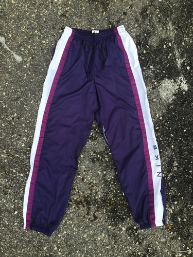 AS IS - Nike Purple and White Zipper Athletic Pants - Closet Freekz