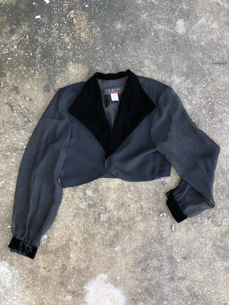 J.R. Nites Black Velvet Blazer with Sheer Arms