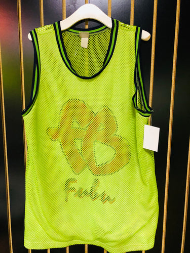 Vintage Lime Green FUBU Throwback Mesh Basketball Jersey