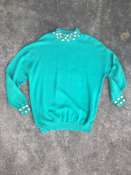 Talk of the Walk Teal Pearl Sweater