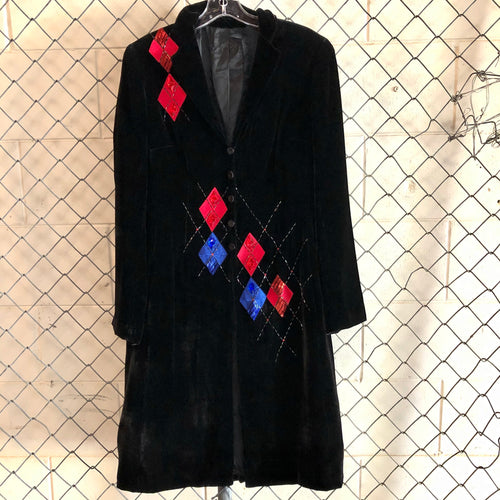 Diamante Black Diamond Velvet Duster - Closet Freekz