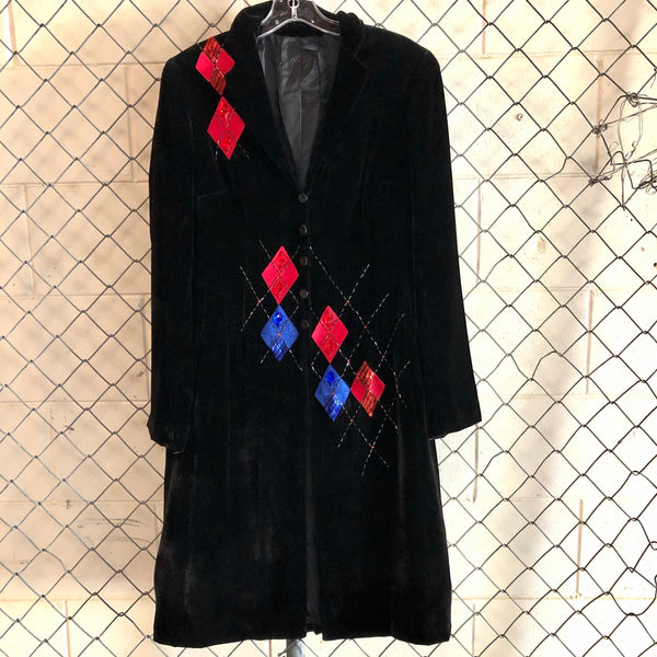 Diamante Black Diamond Velvet Duster