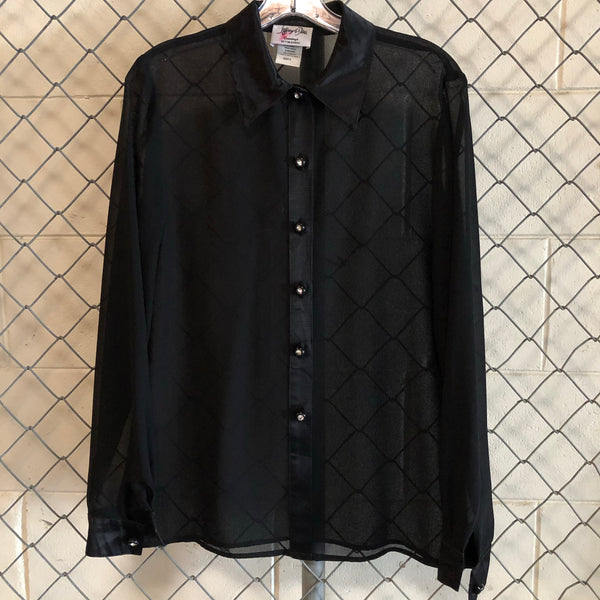 AS IS- Jeffrey and Dana Black Sheer and Satin Button Up
