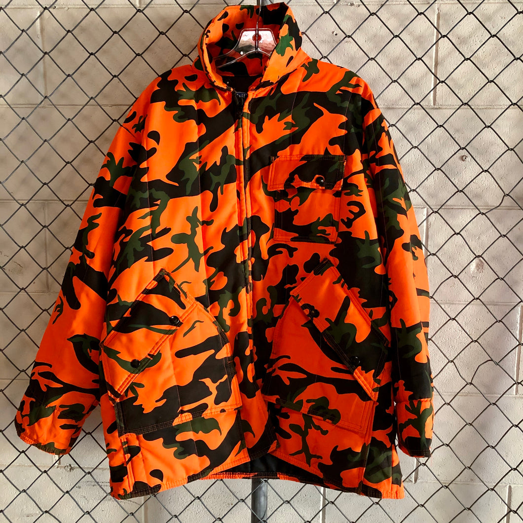 Chiller Neon Orange Camo Padded Jacket - Closet Freekz
