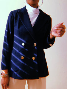 Evan Picone Navy Blue Wool Blazer Jacket - Closet Freekz