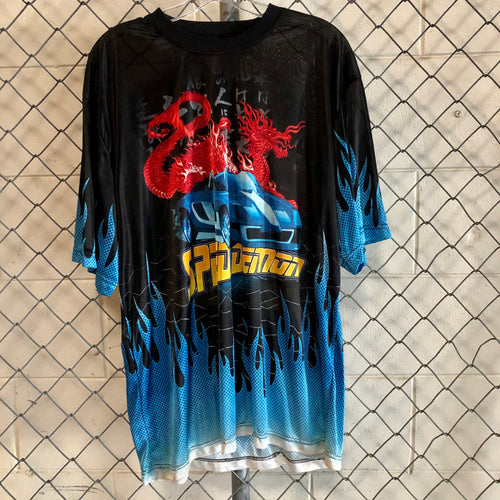 No Boundaries Black and Blue Dragon Flame Jersey - Closet Freekz