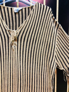 Beware Brown Striped Knit T-Shirt