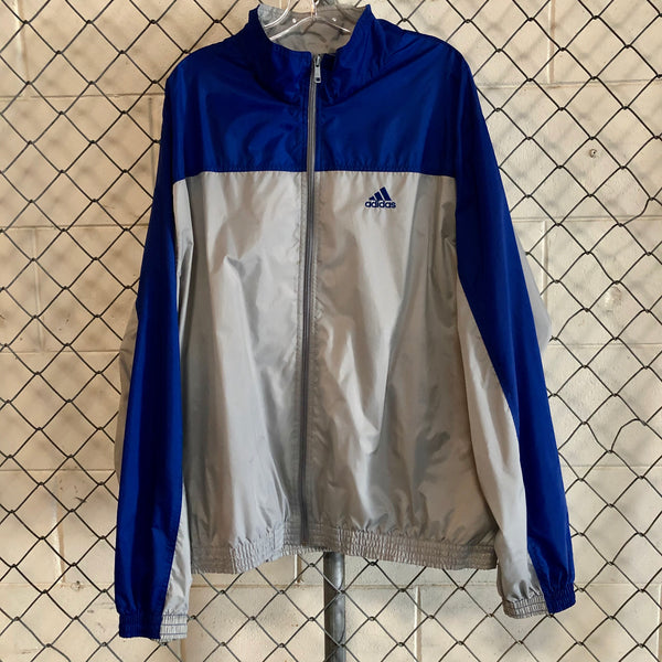 AS IS - Adidas Grey and Blue Athletic Windbreaker