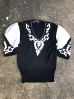 Della Knit White and Black Beaded Sweater