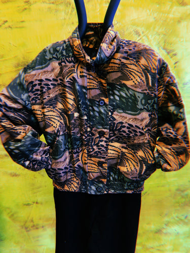 Stunt Sports Brown and Green Animal Print Retro Jacket