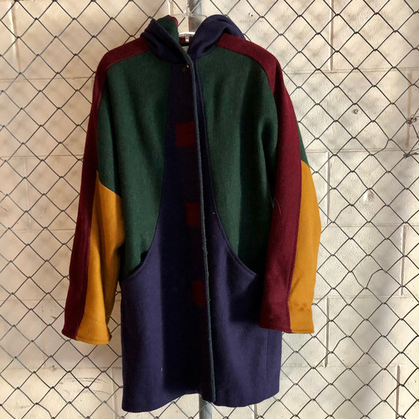 Michael Lewis Burgundy and Green Colorblock Wool Coat