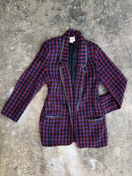 Cedars Black, Red, and Blue Wool Blazer