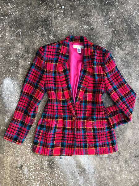 Chaus Pink and Black Plaid Tweed Blazer