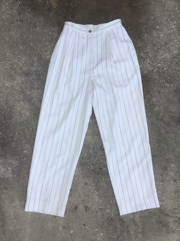 Apart White Wide Leg Stripe Retro Pants