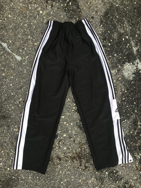 Adidas Black Ribbed Paneled Athletic Snap Pants