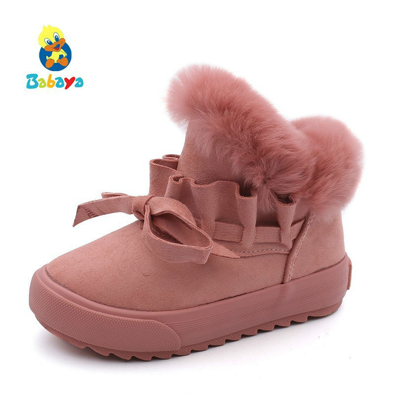 babaya Children Shoes Girls Snow Boots Plus Velvet Boots Shoes 2019 Winter New Girls Winter Shoes Cotton Boots Kids