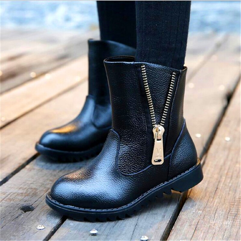 Boys Girls Genuine Leather Boots Children's Winter Boots Shoes Waterproof Zipper Boots Ankle For Kids Female Snow Fur Red Black