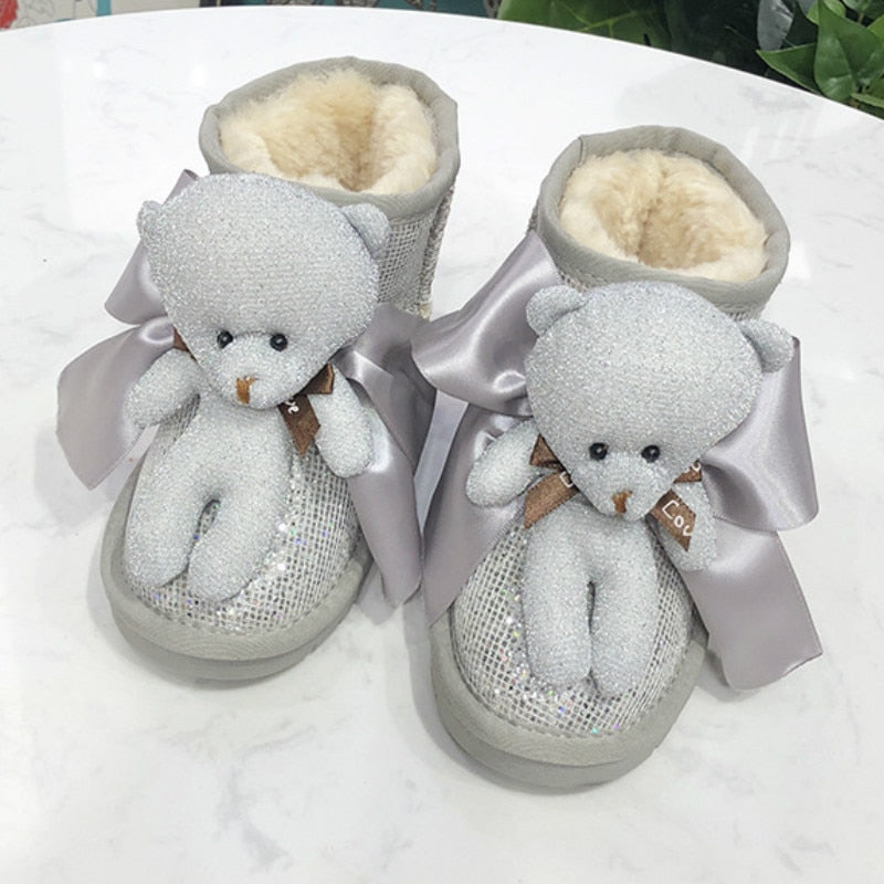 Winter Snow Boots Cartoon Bear Boots for Girl Sequined New Children's Snow Boots Warm Fur Boots Non-slip Bottom