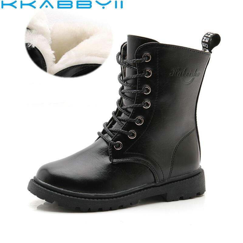Winter Boots Girls Shoes Kids Girls Boots Children Shoes Plush Fur Bow Leather Shoes Girl Bota Kid Snow Boots