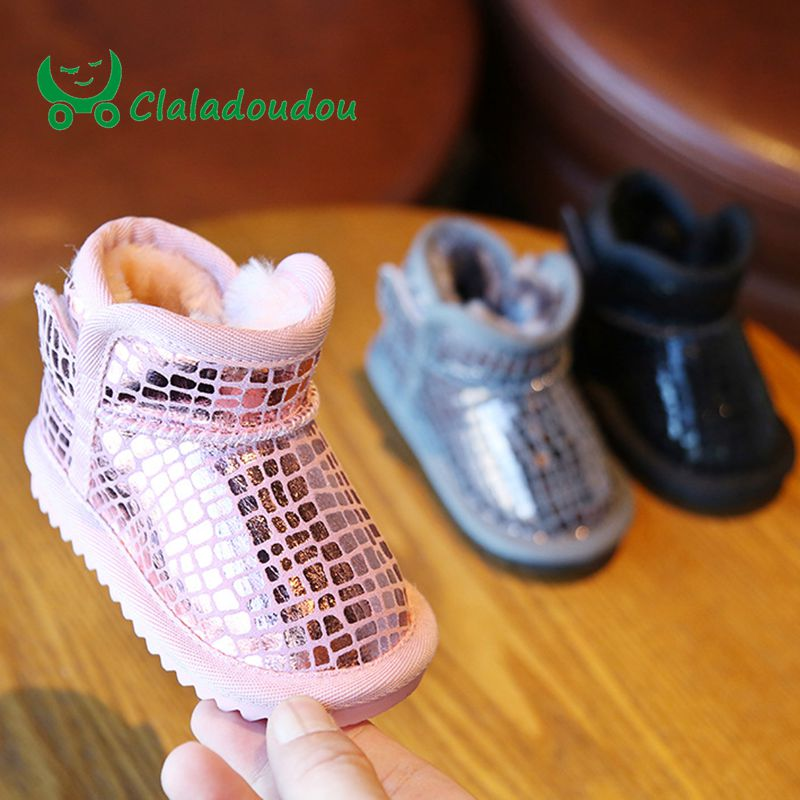 Claladoudou 12-16cm baby girls boys bling genuine leather winter boots black pink warm plush ankle boots toddler rubber boot