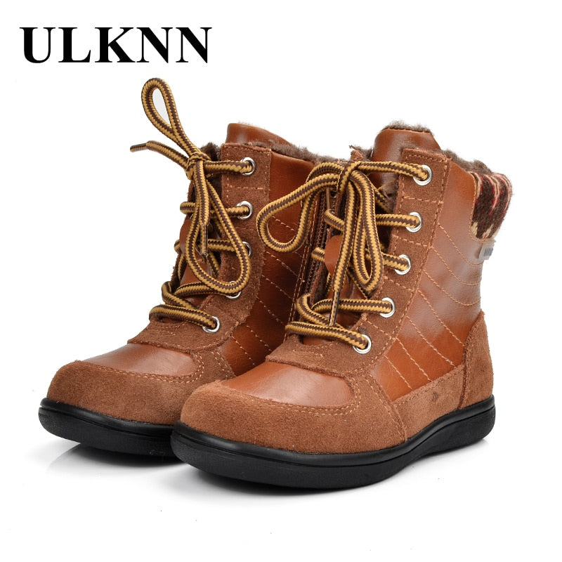 ULKNN Children Boots Winter Boys For Girls Kids Boots Leather Genuine Fashion Retro Cotton Fabric Plush Fur Snow Boots bota