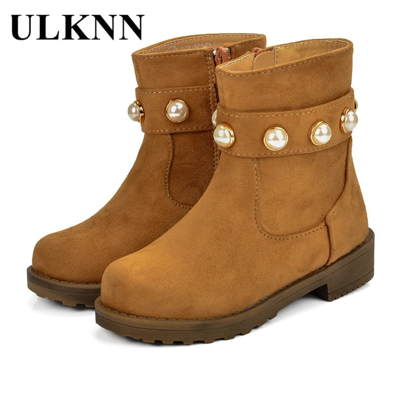 ULKNN Grils Snow Boots Children For Baby Girls Kids Shoes Warm Boot Kids Winter Shoes Girls Fur Leather Plush Sole Pearl Cowboy