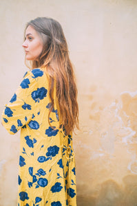 1980's Yellow Flower dress